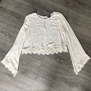 Forever 21 White Lace Bell Sleeve Blouse